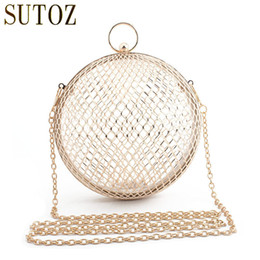 Ladies Metallic Handbags NZ - Fashion Round Ball Handbag Metal Evening Clutch Ladies Metallic Evening Bags for 2018 Hollow Out Day Clutches Party Bag Y18103004