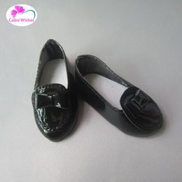 leather doll shoes Canada - 2017 NEW black shiny leather shoes for Dolls fits 1 4 BJD Doll and 16 Inch Sharon doll Accessories