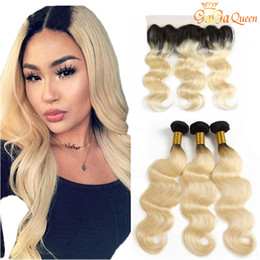 32 34 inch 1b 613 hair 2019 - Body Wave 1B 613 Dark Root Blonde Ombre Brazilian Virgin Human Hair Weave Bundles with 13x4 Lace Frontal Closure cheap 3