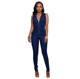 5695ad824e1 Hot Women jumpsuits Cowboy Romper Casual Women Clothing 2018 Spring Jumpsuit  Sexy Sleeveless Slim Tights Romper Overalls Blue jeans jumpsuit