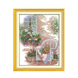 Spray Painting House UK - The Outside the house Printed Canvas DMC Counted DIY Chinese Cross Stitch Kits printed Cross-stitch set Embroidery Needlework