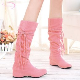 2b31e4ddefc Chainingyee forest style round toe nubuck knee high boots tassel black pink  beige yellow green high-heeled women s riding boots discount forest green