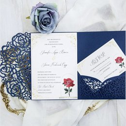 Laser cut birthday cards online shopping - Tri fold pocket wedding invitation card with rsvp envelope navy blue flora modern laser cut invitation paper
