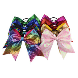 Large ribbon for hair bows online shopping - DHL fast ship inches Solid Ribbon Cheer Bow For Girls Boutique Large Cheerleading Hair Bow women lady sequined Hair Accessories