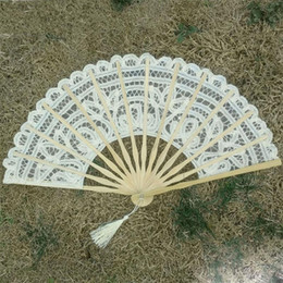 12 Cm Fan Australia - Lace Hand Fan Manual Embroidery Double Deck Folding Fans Beige Wedding Favors For Guest Gifts Arts And Crafts 12 5tr ff