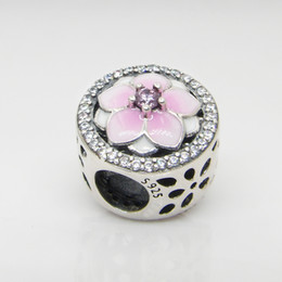 $enCountryForm.capitalKeyWord Australia - Pink Enamel magnolia European Accessories Beads Original box for Pandora 925 Sterling Silver Charms Bracelet Making Free shipping