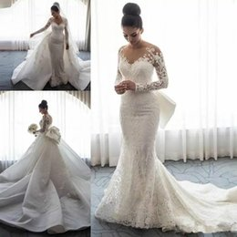 embroidery wedding dresses detachable train Australia - Steven Khalil 2018 Detachable Train Mermaid Wedding Dresses with Big Bow Lace Floral Long Sleeve Church Train Garden Wedding Gowns