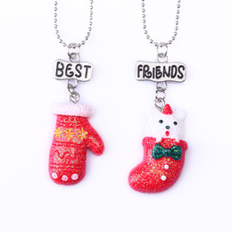 """Best Gift For Xmas Australia - 2PCS Pair """"Best Friends"""" Xmas Red Gloves Stocks Necklaces Kids Necklace For Children Jewelry Birthday Chirstmas Gifts"""