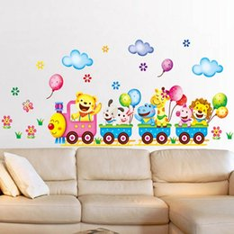 animals wall stickers train UK - Zs Sticker Train Wall Stickers for Kids Room Safari Home Decor Nursery Wall Decal Children Poster Baby House Mural