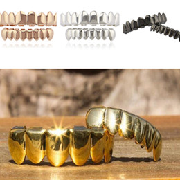 $enCountryForm.capitalKeyWord Canada - Gold Plated Hip Hop Teeth Cosplay Grillz Caps Top Bottom Grills Set Bling Shinny Custom Fit NO Fangs Tooth new 2018 Holloween Party