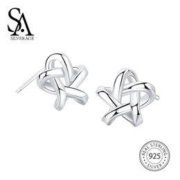 $enCountryForm.capitalKeyWord Canada - SA SILVERAGE 925 Sterling Silver Weaved Star Stud Earrings for Women Fine Jewelry Silver 925 Stud Earrings Set Earings FemaleY1882903