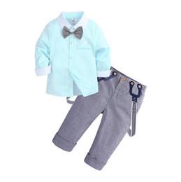 Spring Tying Australia - Toddler Baby Boys Clothes Clothing Sets Spring Cotton Gentleman Kids Long Sleeve Biw tie Shirt Suspenders Pants
