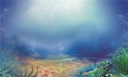 Sotto il mare Fondali Fotografia Stampata Sole attraverso l'acqua blu Piante verdi Pesci Bambini Bambini Sfondi Ocean per Photo Studio