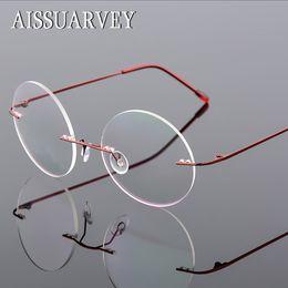 240c86ec1b Men s Women s Frames Rimless Round Retro Eyeglasses Optical Brand Designer  Prescription Titanium Alloy Flexible Eyewear Cheap