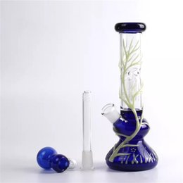 beaker base tree arm bong NZ - Grow In Dark Beaker Based Bong Arm Tree Perc Glass Water Pipes 18.8mm Joint Beaker Bong Dab Rigs Glass Water Pipe