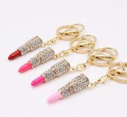 $enCountryForm.capitalKeyWord Canada - Charm Crystal Keychain Lipstick Key Holder Rhinestone Keyring Keyfob Red Rose Pendant Key Chain Rings Women Jewelry 4 colors