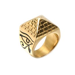 $enCountryForm.capitalKeyWord NZ - Gold Color Totem Pyramid Ring Hip Hop Horus Eyes Anubis Pattern Triangle Pyramid Rings Rock Stainless Steel Signet Rings