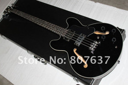 $enCountryForm.capitalKeyWord NZ - High quality New Arrival 4 String black Electric Bass Guitar,black double F hole hollow Jazz bass,wholesales
