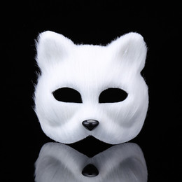 Back Hair Men Australia - Party White Plastic Short Hair Ball Dance Fox Mask Cosplay Party Upper Half Face Halloween Masks Cat Masquerade Costume