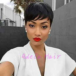 bob cut natural african hair 2019 - Pixie cut short Wigs for black women human hair wigs for black women bob full lace front wigs with baby hair None lace w