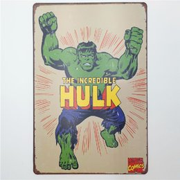 vintage antique metal tin signs UK - The Incredible Hulk Vintage Metal Signs Home Decor Cafe Bar Decoration Pub Decorative Metal Wall Art Plates Tin Sign Retro 20x30cm