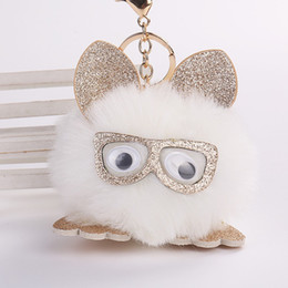 fluffy bunny ears UK - Cute Handmade Bag Pendant Pu Leather Ear Faux Bunny Rabbit Keychain Fluffy Glasses Owl Key Buckle Fashion 4 5wj BB