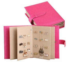Discount book cases - hot sale Jewelry Organizer, Portable Earring Holder Travel Jewelry Case Pu Leather Earring Holder with Book Design whole