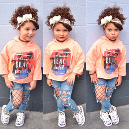 Clothing Baby Jeans Set Girls Canada - long sleeve with hat spring autumn Fashion baby girl clothes cotton top + Jeans +hairband 3pcs baby girls clothing set