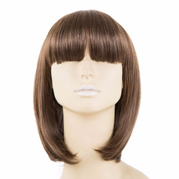 China Brown Wig Bangs Fei-Show Synthetic Heat Resistant Fiber Short Wavy Fringe Bangs Women Female Cos-play Hairpiece Student Bob Hair cheap wholesale women hair suppliers
