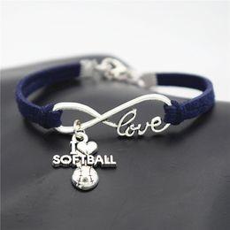 $enCountryForm.capitalKeyWord Australia - 2019 New Luxury Infinity Love I Heart Softball Team Sports Pendant Bangle & Bracelet Handmade Navy Blue Leather Suede Rope Men Women Jewelry