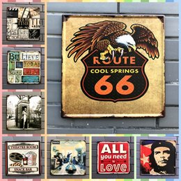 Discount cool tablets - ROUTE 66 COOL SORING 30*30cm Posters Vintage Home Decor Tin Signs Graphic Tablet Metal Art Wall Paint Crafts Supplies