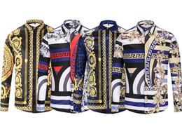 Wholesale solid colour shirts resale online – Brand new luxury men shirt designs D Colour Floral prints long sleeve mens dress shirts Medusa casual Shirts