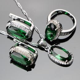 6e825d33dcc9 Conjuntos de joyas de Edding Circón verde Mujeres Plata 925 Conjuntos de  joyas de boda Colgante Collar Anillos Pendientes con piedras Conjunto Joyas  .