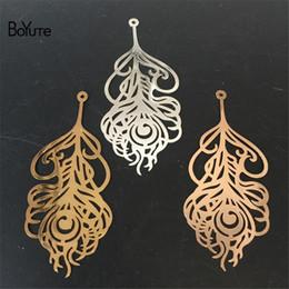 $enCountryForm.capitalKeyWord Canada - BoYuTe 10 Pcs 65*29 MM Brass Metal Sheet Silver Gold Feather Pendant Charms Diy Jewelry Accessories
