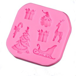 Discount christmas tree silicone mould - Wholesale- Christmas Tree Cake Decorating Tools Baking Fondant Silicone Mold Christmas Trees Craft Soap Chocolate Moulds
