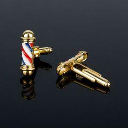 Gold 18k Shop Australia - Barber Shop Sign Barber Pole Cufflinks Hairdresser Friends Gifts Cuff Links pins for Shirts Creative Jewelry