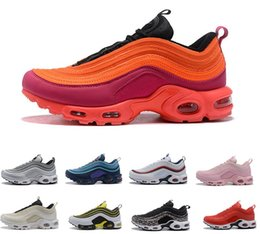 Discount max shoes - 2018 Air New 97 Plus TN Running Shoes Triple White  Black Pink 78ef93a99