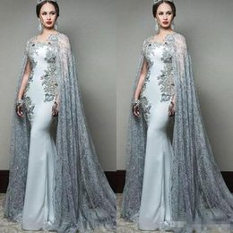 Newest eveNiNg gowNs online shopping - Newest Abric Mermaid Prom Dresses With Cape Sleeve Jewel Neck Formal Evening Wear Sequined Sweep Train Celebrity Party Gowns