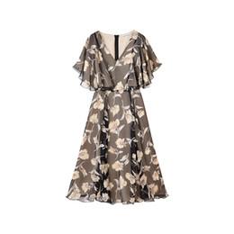 a8211dea0238 Dabuwawa 2018 New Temparement Elegant Lotus Leaf and Ruffle V-Neck Long  Print Summer Women Dress
