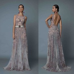 white red beaded jewels Canada - Berta 2019 A Line Backless Prom Dresses Luxury Beaded Jewel Neck Formal Evening Gowns Illusion Long Sweep Train Pageant Red Carpet Dress