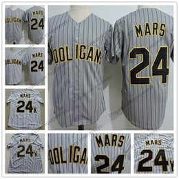 Wholesale Hot Sale Bruno Mars K Hooligans Baseball Jersey Gray Pinstripe White Stitched Doo Wops Singers Bruno Mars K Magic Button Up Shirts