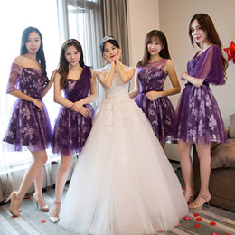 51b8828fa0 Bridesmaid dress new 2018 summer short bride sister skirt short section was  thin bridesmaid group purple evening dress female banquet