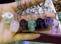Men folk online shopping - 1pcs natural Amethyst Keychain crystal Skull figurine Fashion Cool stone Pendant Key ring Key Holder Men Women Jewelry