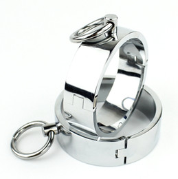 Metal ankle handcuff online shopping - Bondage chastity Metal Handcuffs Sex Toys For Men Woman Stainless Steel Ankle Cuffs Slave Handcuff BDSM Sex Products
