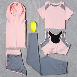 Yoga Pants Jacket Canada - 2018 Yoga Set Sport Jacket+Tights Pants+Short+Yoga Shirt+Sports Bras 5 Pieces Running Sportswear Tracksuit Fitness Gym Clothing