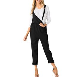 $enCountryForm.capitalKeyWord Australia - Women Casual Straps Pockets Jumpsuit Ladies Loose Solid Sleeveless Rompers Overalls Harem Trousers