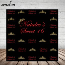 $enCountryForm.capitalKeyWord NZ - wholesale Girls Sweet 16 Party Decorations Backdrop For Photo Studio Gold Crown Red Letters Black Backgrounds Photo Both Vinyl