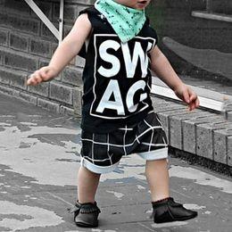 $enCountryForm.capitalKeyWord NZ - 2018 Fashion Design Boy Suit Letter Printing Vest + Pants Suit Baby Summer Sleeveless Vest 2 Piece of Children's Clothing