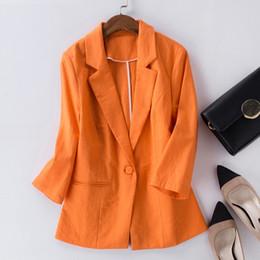 dc4e0280f8c84 Blazer Femenino Feminino Plus Size 2XL Chaqueta Formal Mujer Blaser  Femenino Azul Mujeres Cotton Linen Traje Office Ladies Jacke