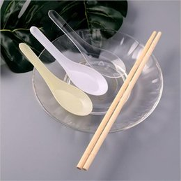 Ice cream spoon dIsposable plastIc online shopping - High Quality Soup Spoons Outdoor Portable Disposable Spoon Mini Dessert Ice Cream Fast Food Scoop Hot Sale yk YY